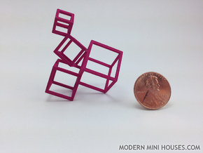 Cubed Art Sculpture 1:12 scale in Pink Processed Versatile Plastic