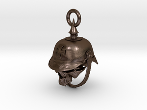 WWI German Infantry Skull Biker Bell in Polished Bronze Steel