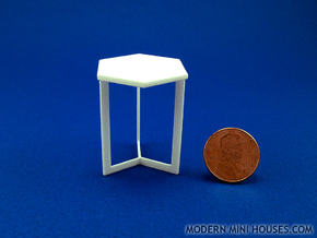 Hexagon End Table 1:12 scale dollhouse miniature in White Strong & Flexible Polished