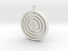 Orrery cross pendant in White Natural Versatile Plastic