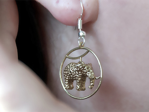 Elephant Earring in Natural Brass