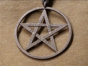 Pentacle Pendant - braided in Polished Bronzed Silver Steel