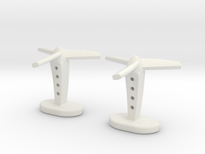 Propeller cufflinks in White Natural Versatile Plastic