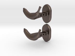 Banana cufflinks in Polished Bronzed Silver Steel