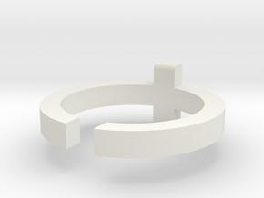 (USA) 7-1/2 Cross  - Multiple Sizes in White Natural Versatile Plastic