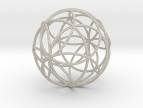 3D 100mm Orb of Life (3D Seed of Life)  in Sandstone