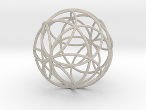 3D 200mm Orb of Life (3D Seed of Life) in Natural Sandstone
