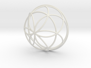 3D 100mm Half Orb of Life (3D Seed of Life)  in White Natural Versatile Plastic