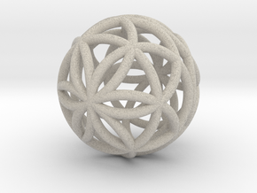 3D 33mm Orb of Life (3D Seed of Life) in Natural Sandstone