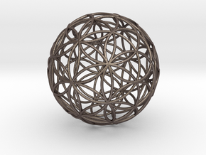 3D 400mm Orb of Life (3D Flower of Life)  in Polished Bronzed Silver Steel