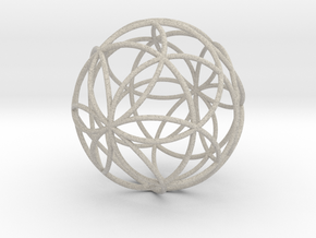 3D 88mm Orb of Life (3D Seed of Life)  in Sandstone