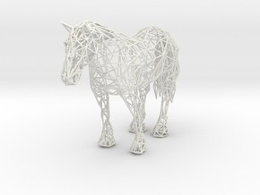 Wireframe Horse in White Natural Versatile Plastic