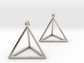 Tetrahedron Earrings in Platinum