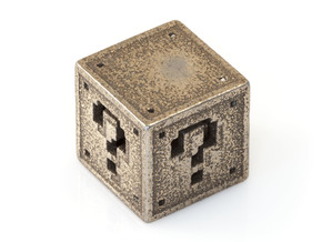 8 bit Mario Block in Stainless Steel