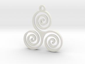 Triple Spiral (Triskele) - Sacred Geometry in White Natural Versatile Plastic