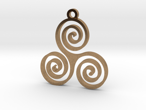 Triple Spiral (Triskele) - Sacred Geometry in Natural Brass