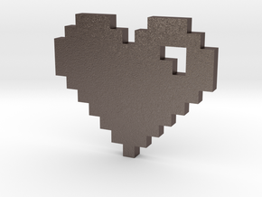 8 Bit Heart (Pixel Heart) in Polished Bronzed Silver Steel