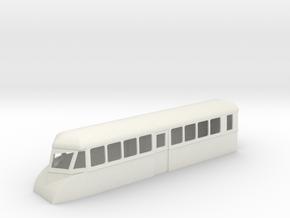 """009 bogie """"Flying Banana"""" railcar single ended  in White Natural Versatile Plastic"""
