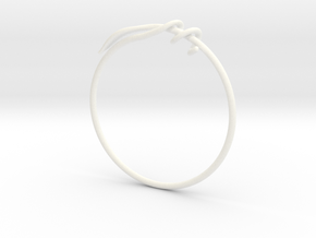 Leaf Bracelet  in White Processed Versatile Plastic