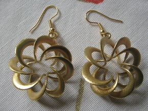 Coil 8 3 Earrings in Natural Brass