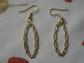Torus Pattern 3 Earrrings in Natural Brass