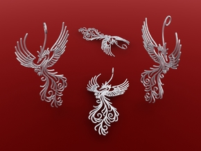 Phoenix pendant  6cm in Polished Silver