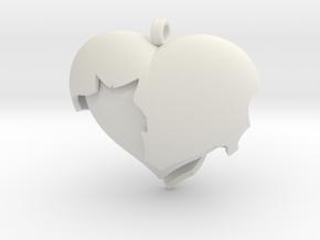 Broken Heart 1 in White Natural Versatile Plastic