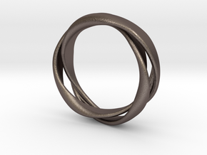 3-Twist Ring in Polished Bronzed Silver Steel