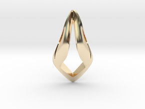 Floating Free Z, Pendant. Smooth Shaped for Perfec in 14K Yellow Gold
