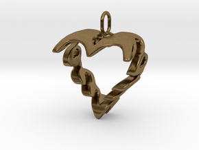 Love Heart Pendant v2 - 22mm in Raw Bronze