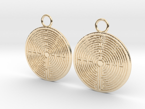 Labyrinth earrings in 14K Yellow Gold
