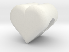 Heart Bead (3mm Hole) in White Natural Versatile Plastic