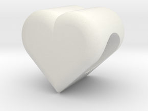 Heart Bead (5mm Hole) in White Natural Versatile Plastic