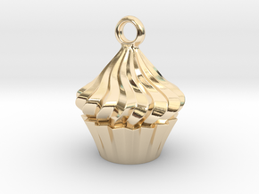 Cupcake Pendant in 14K Yellow Gold