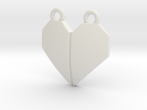 Origami Heart Pendant - w/ center crease in White Natural Versatile Plastic