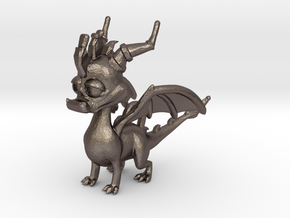 Spyro the Dragon Pendant/charm in Polished Bronzed Silver Steel