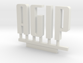 Agip Sign Logo N Scale1:160 in White Natural Versatile Plastic