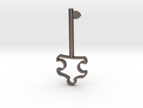 Autism Key Pendant in Polished Bronzed Silver Steel
