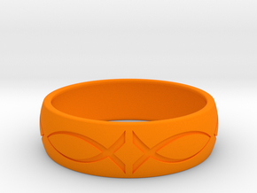 Size 8 Ring engraved in Orange Processed Versatile Plastic