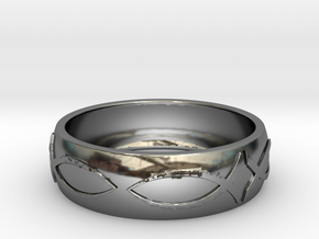 Size 11 Ring  in Fine Detail Polished Silver