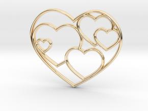 Lots of Hearts Necklace in 14K Yellow Gold