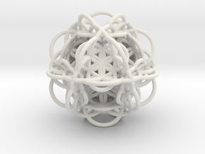 3d Flower of Life with 8 Seeds: Sacred Geometry in White Natural Versatile Plastic