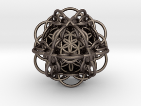 3d Flower of Life with 8 Seeds: Sacred Geometry in Polished Bronzed Silver Steel