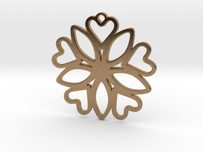 Heart Pendant - Floral  in Natural Brass