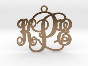 KPE Monogram Necklace in Natural Brass