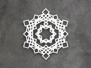 Squares Snowflake Ornament in White Strong & Flexible Polished