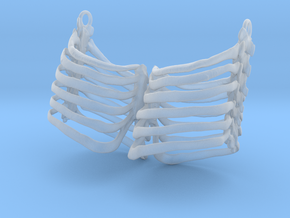 Ribcage Earring Pair in Smooth Fine Detail Plastic