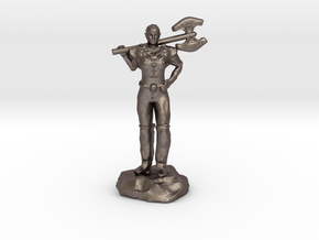 Half Elf Barbarian Woman with Great Axe in Polished Bronzed Silver Steel