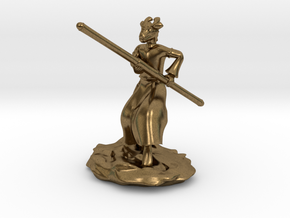 Dragonborn Monk in Robes with Quarterstaff in Natural Bronze