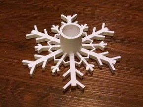 SnowFlake Candle Holder in White Natural Versatile Plastic